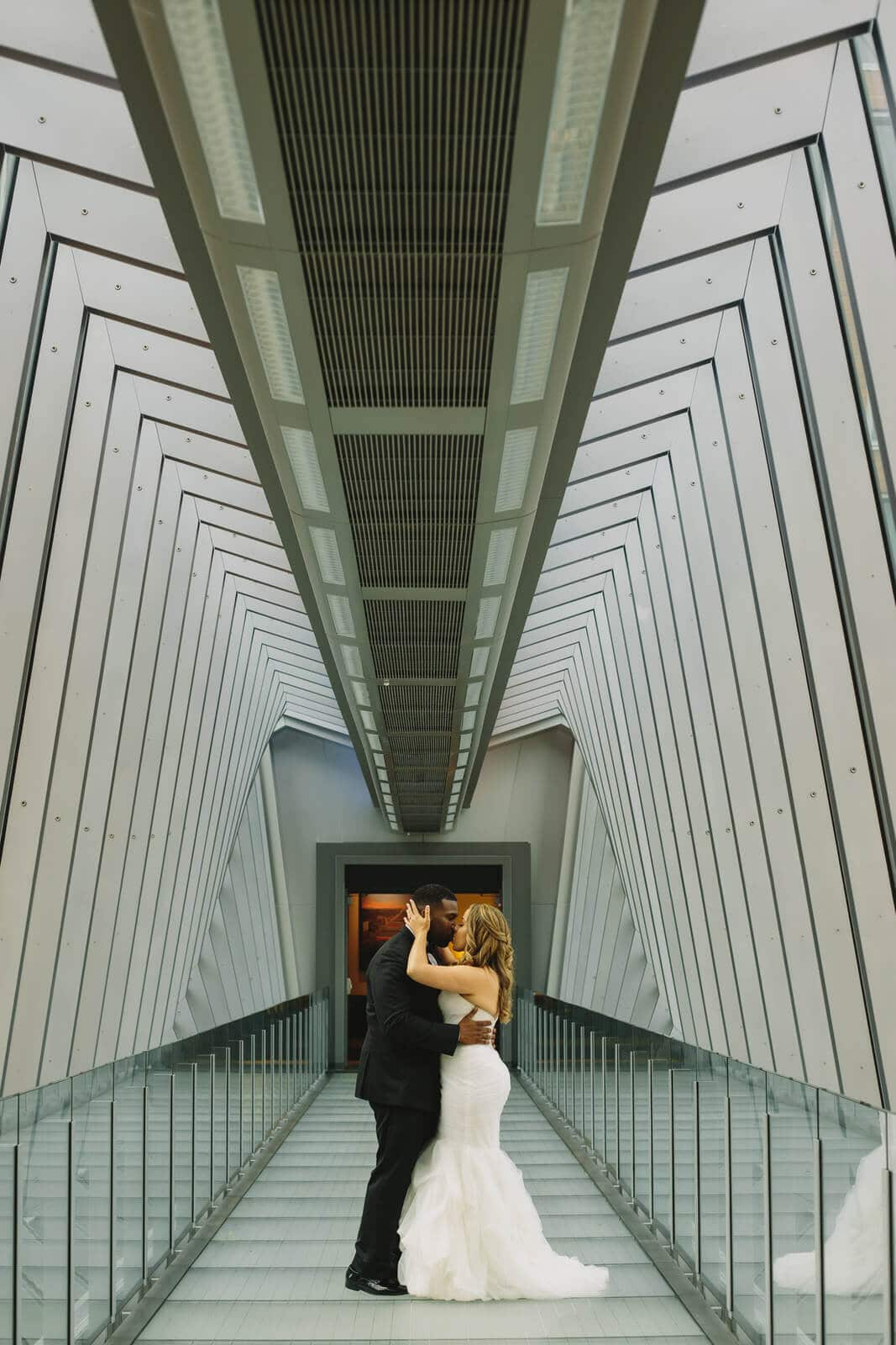 bride and groom, stylish, modern, love, the hilton, black tux