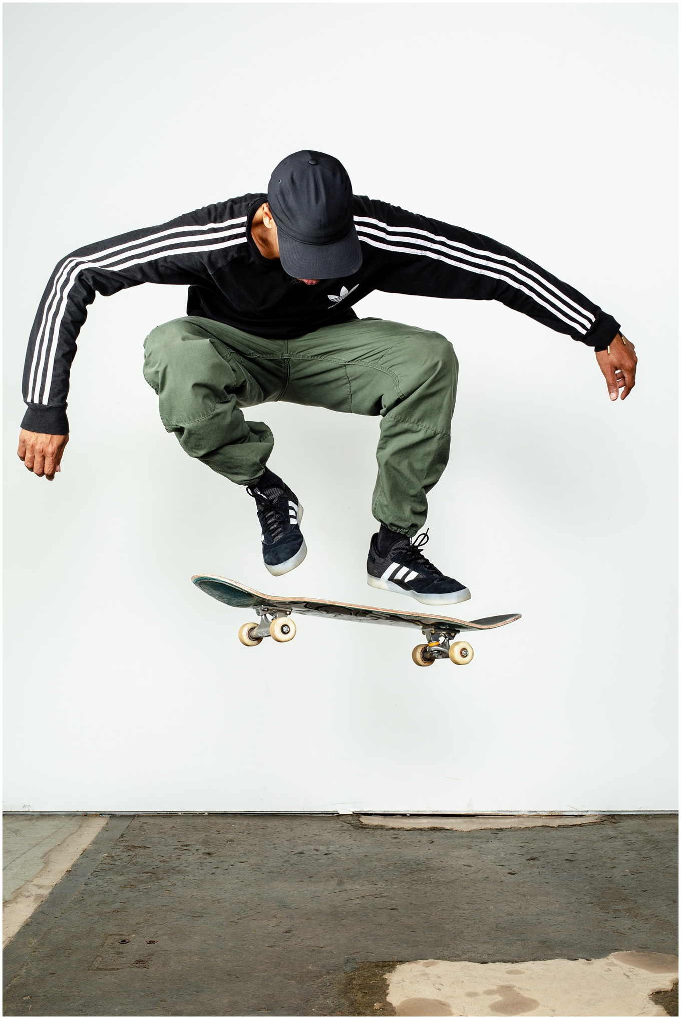 Adam Lowe Photography, skateboarding, skate, embassy, deangelo harris, street style, adidas, switch kickflip, kickflip, studio photography, commercial, editorial, lifestyle, columbus, ohio, switch pop shove-it